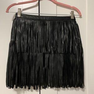 Fringe, Faux Leather Skirt